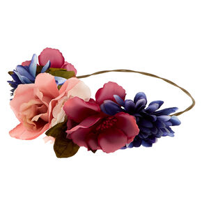 Large Rose Flower Crown Headwrap - Pink,
