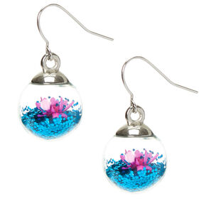 "1"" Flower & Glitter Globe Drop Earrings - Blue,"