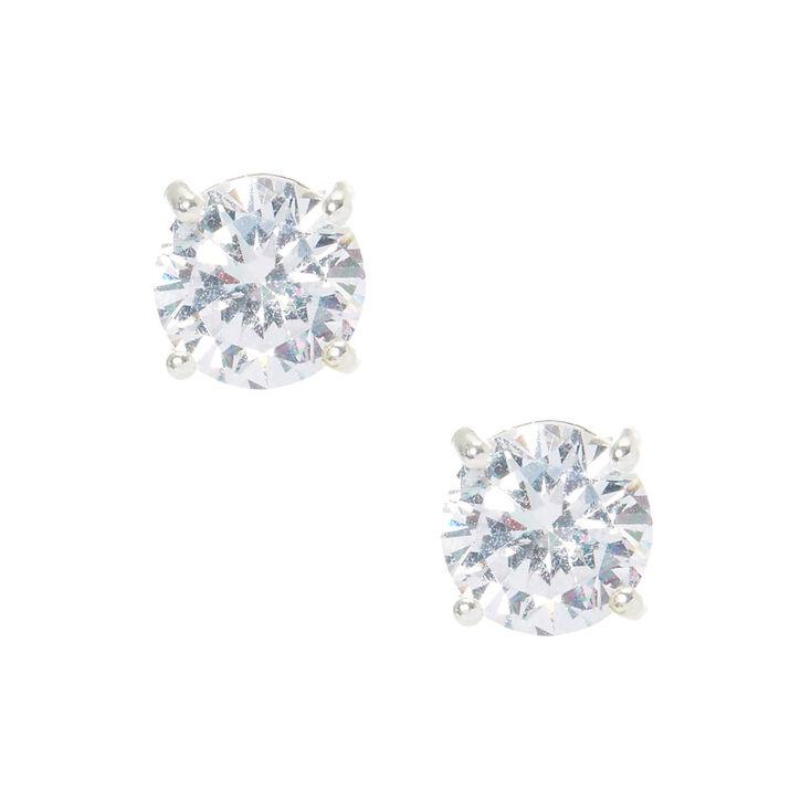 Silver Cubic Zirconia 8MM Round Stud Earrings,