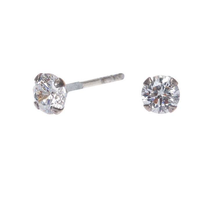 757722cdd Sterling Silver Cubic Zirconia 4MM Round Stud Earrings | Claire's