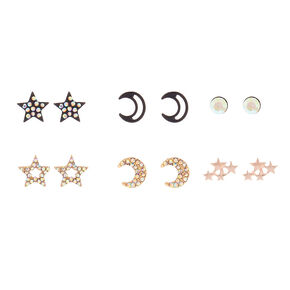 Mixed Metal Celestial Stud Earrings - 6 Pack,