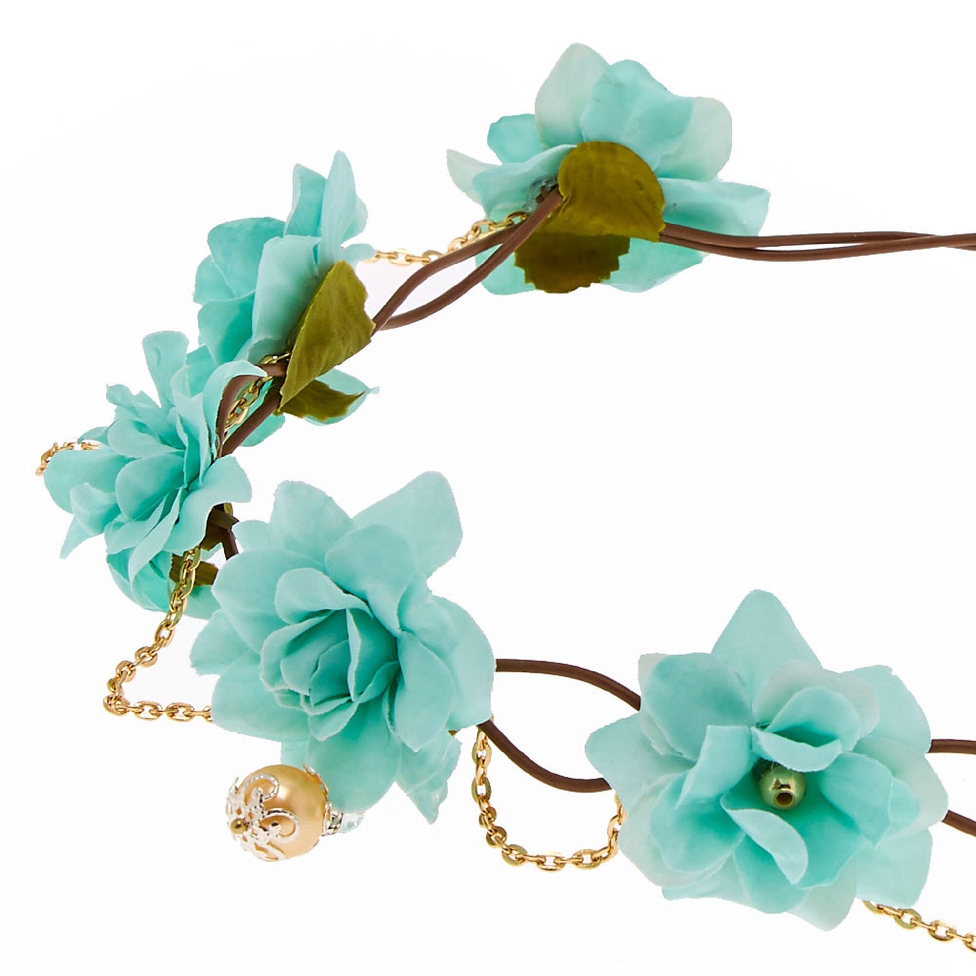 Couronne de fleurs vert menthe et fausse perle dor e claire 39 s fr - Catalogue de fleurs gratuit ...