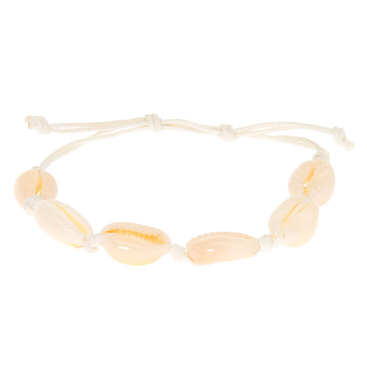 Cowrie Shell Adjustable Bracelet - White,
