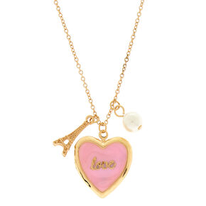 Collier à pendentif médaillon rose Love Paris,