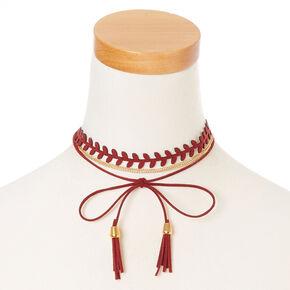 Burgundy Tassel and Gold Chain Dual Wear Head wrap,
