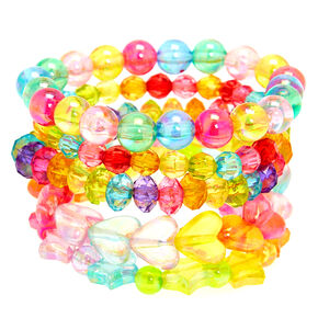 Claire's Club Rainbow Beaded Stretch Bracelets - 5 Pack,