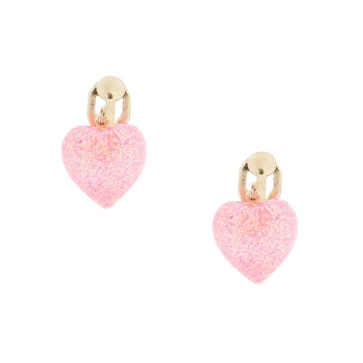 Pink Heart Shaped Clip On Earrings