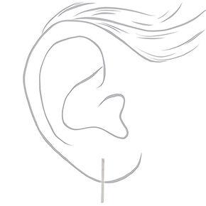 Silver Geometric Stud Earrings - 9 Pack,