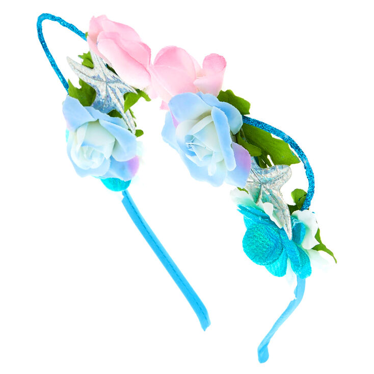 Holographic Mermaid Cat Ears Flower Crown Headband  8a1bfcc46e9