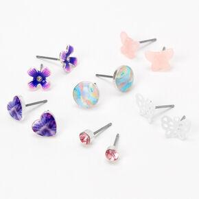 Pastel Rainbow Butterfly Stud Earrings - 6 Pack,