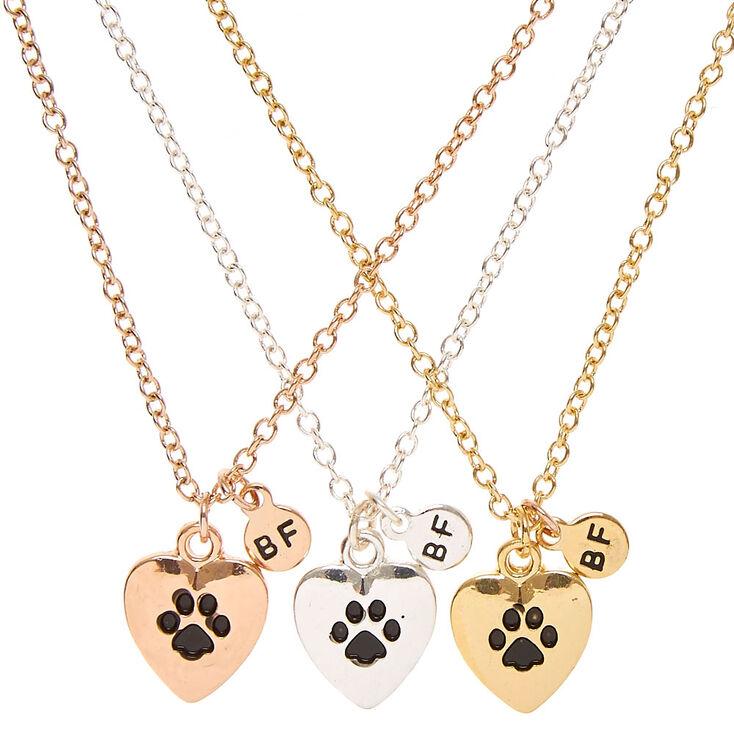 Best friends mixed pendant paw print pendant necklaces claires best friends mixed pendant paw print pendant necklaces aloadofball Images