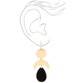 """Gold 2"""" Triple Geometric Drop Earrings - Black,"""