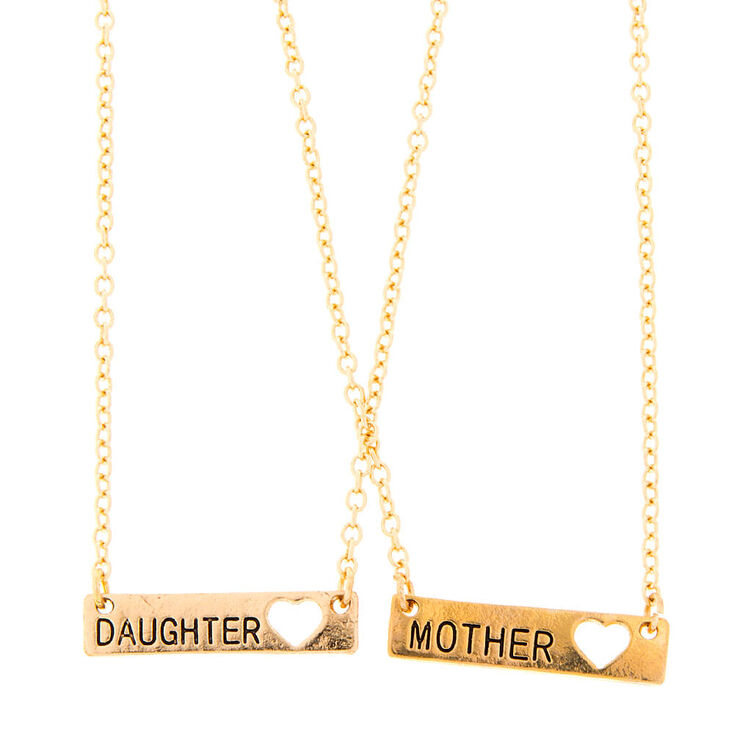 Mother Daughter Gold Bar with Heart Cut Out Pendant Necklaces ... 5ba49590ffa8