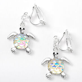 "Silver 1"" Iridescent Scale Turtle Clip On Drop Earrings,"
