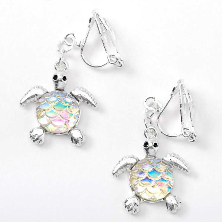 """Silver 1"""" Iridescent Scale Turtle Clip On Drop Earrings,"""