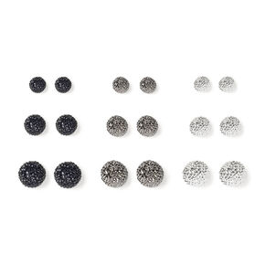 Mixed Metal Graduated Fireball Stud Earrings - 9 Pack,