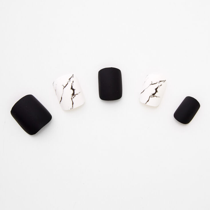 Matte & Marble Pre-Glued Square Faux Nail Set - Black, 24 Pack,