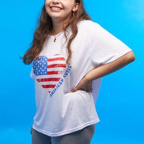 American Cutie Flag Heart Short Sleeve T-Shirt - White,
