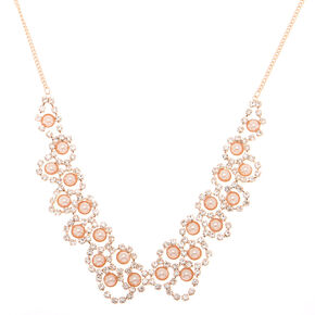 Rose Gold Pearl Scalloped Statement Necklace,