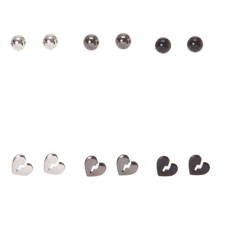 2ea54b528 Mixed Metal Broken Heart Stud Earrings - 6 Pack | Claire's