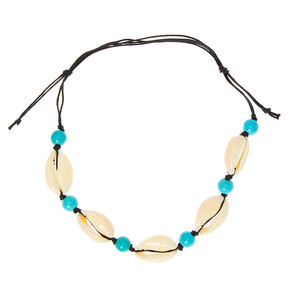 Beaded Cowrie Shell Anklet - Turquoise,