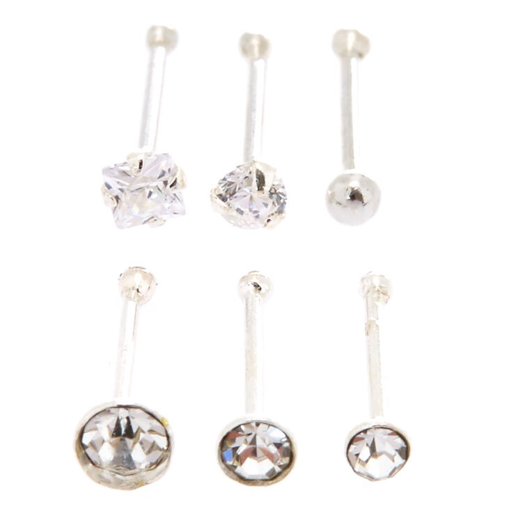 Sterling Silver 22G Nose Stud Rings - 6 Pack,