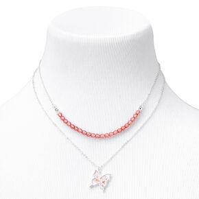 Colliers multi-rangs papillon perlés floraux couleur argentée - Rose tendre,
