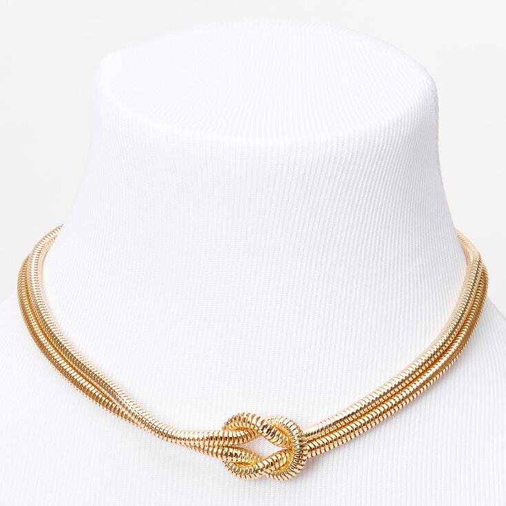 Gold Knotted Snake Statement Necklace,