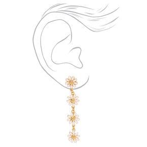 Pendantes linéaires à fleurs 5cm couleur dorée - Blanc,