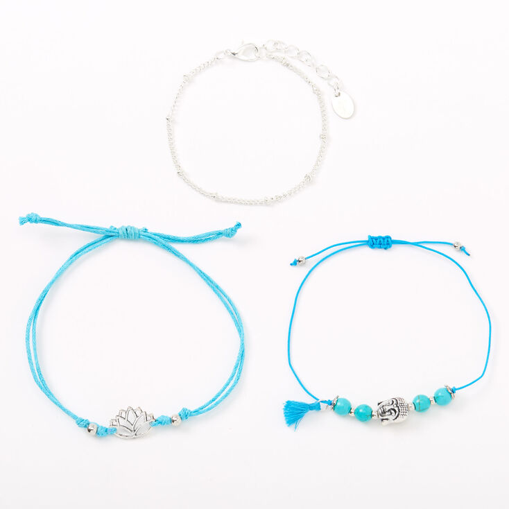 Silver Buddha Lotus Bracelets - 3 Pack, Turquoise,