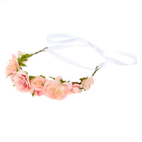 Claire's Club Flower Crown Tie Headwrap - Pink,