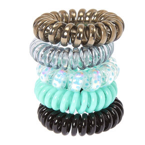 Mini Metallic Spiral Hair Ties - Mint, 5 Pack,