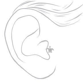 Clou d'oreille pour piercing tragus tortue 1,2mm couleur argentée,