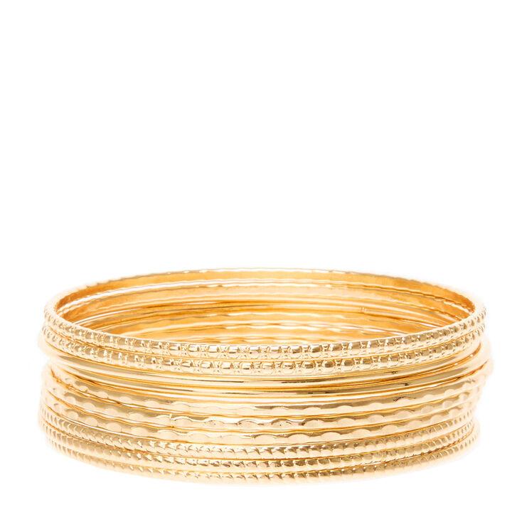 Gold Textured Bangle Bracelets - 10 Pack,