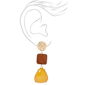 "Gold 2.5"" Wooden & Yellow Stone Tiered Drop Earrings,"