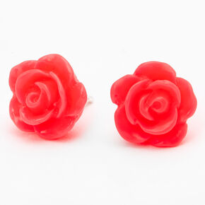 Sterling Silver Carved Rose Stud Earrings - Neon Pink,