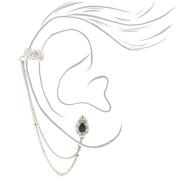 Claire's - teardrop connector earring set - 2