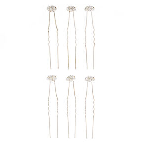 6 Pack Pearl Stone Cluster Hair Pins,