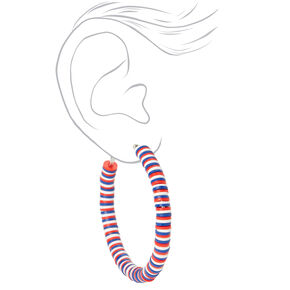 Red, White, And Blue Mini Discs Hoop Earrings,