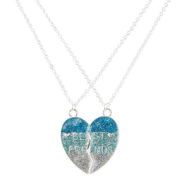 Claire's - best friends glitter spilt heart pendant necklaces - 1