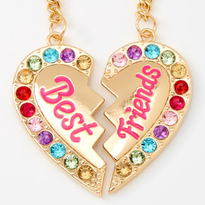 Porte-clés cœur strass arc-en-ciel Best Friends - Lot de 2,