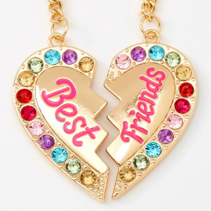 Best Friends Rainbow Gem Heart Keychain - 2 Pack,