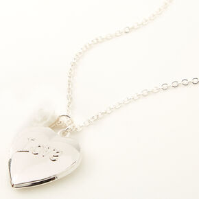Claire's Club Silver Love Locket Necklace,