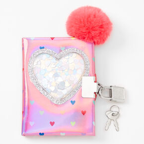 Claire's Club Shaker Hearts Mini Lock Diary - Pink,