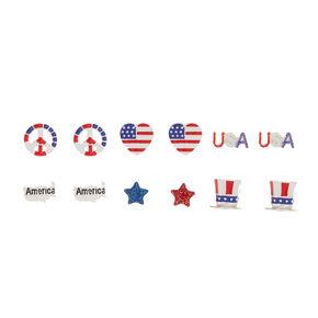 USA Stud Earrings - 6 Pack,