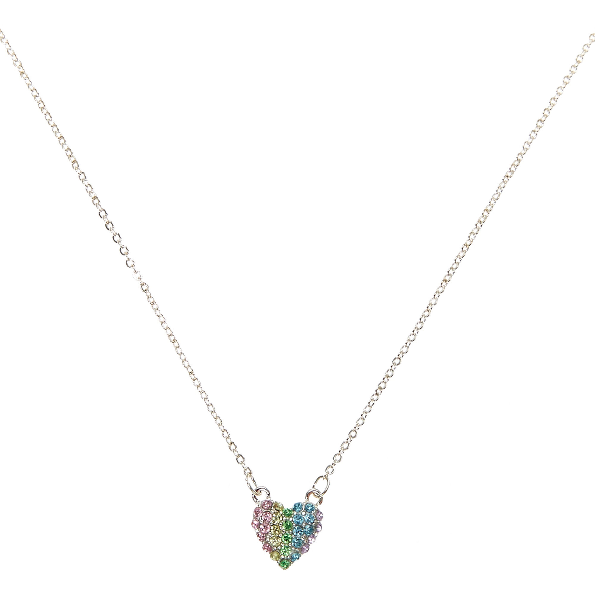 Pastel crystal tiny heart pendant necklace claires us pastel crystal tiny heart pendant necklace mozeypictures Images