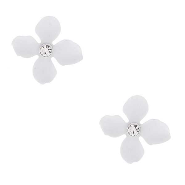 Claire's - silver crystal flower stud earrings - 1