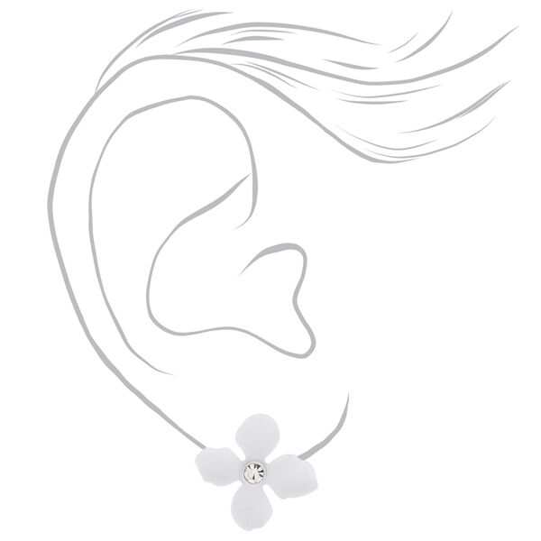 Claire's - silver crystal flower stud earrings - 2