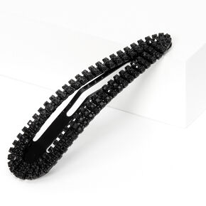 Rhinestone Statement Snap Clip - Black,