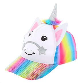 657bbd90eeb79 Claire s Club Sequin Unicorn Baseball Hat